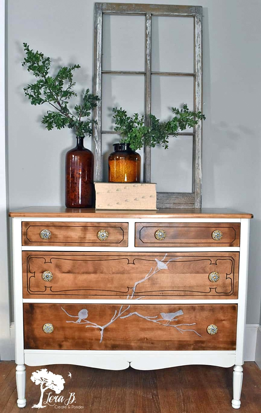 Branch and bird dresser makeover by Lora B, featured on Funky Junk Interiors