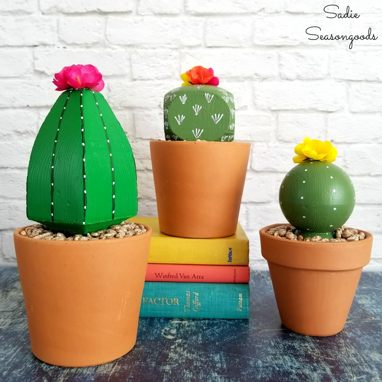 Deck post faux cactus by Sadie Seasongoods, featured on Funky Junk Interiors