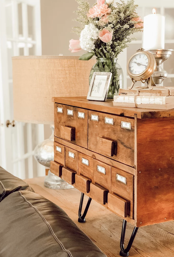 Vintage card catalog on pin legs by Dabbling and Decorating, featured on Funky Junk Interiors