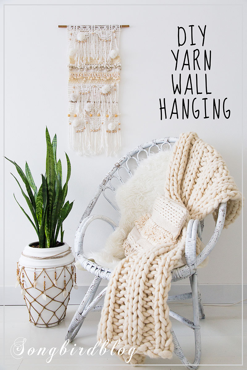 DIY yarn wall hanging by Songbird, featured on Funky Junk Interiors
