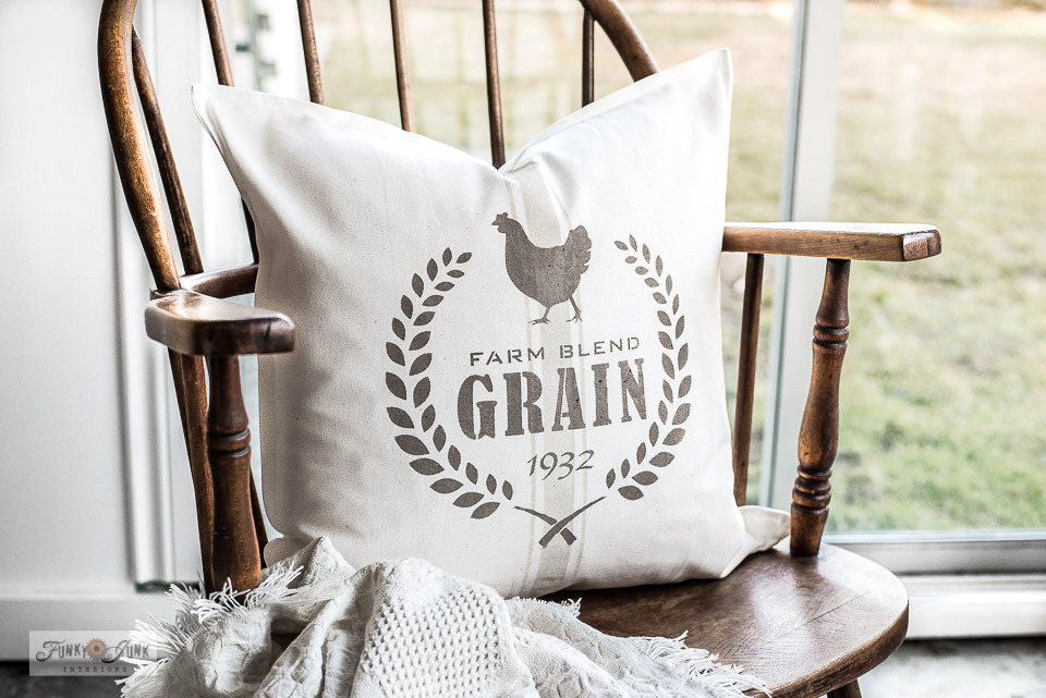 Learn how to stencil this authentic-looking vintage grain sack pillow, featuring Farm Blend Grain with a chicken on an Ikea Gurli cushion cover with Funky Junk's Old Sign Stencils and Fusion Mineral Paint!