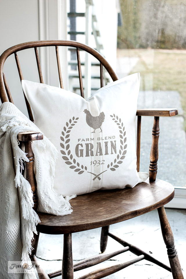 Learn how to stencil authentic-looking vintage grain sack stripe pillows on Ikea covers with Funky Junk's Old Sign Stencils and Fusion Mineral Paint!