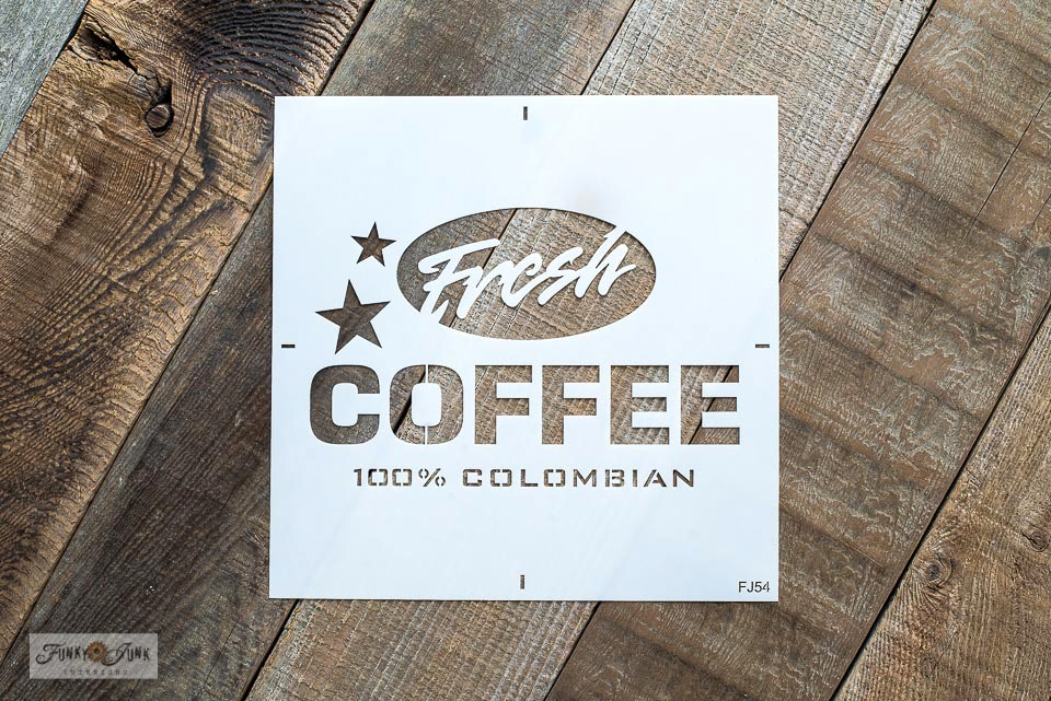 Learn how to make a rustic Fresh Coffee sign that hangs coffee mugs with the Fresh Coffee stencil from Funky Junk's Old Sign Stencils.