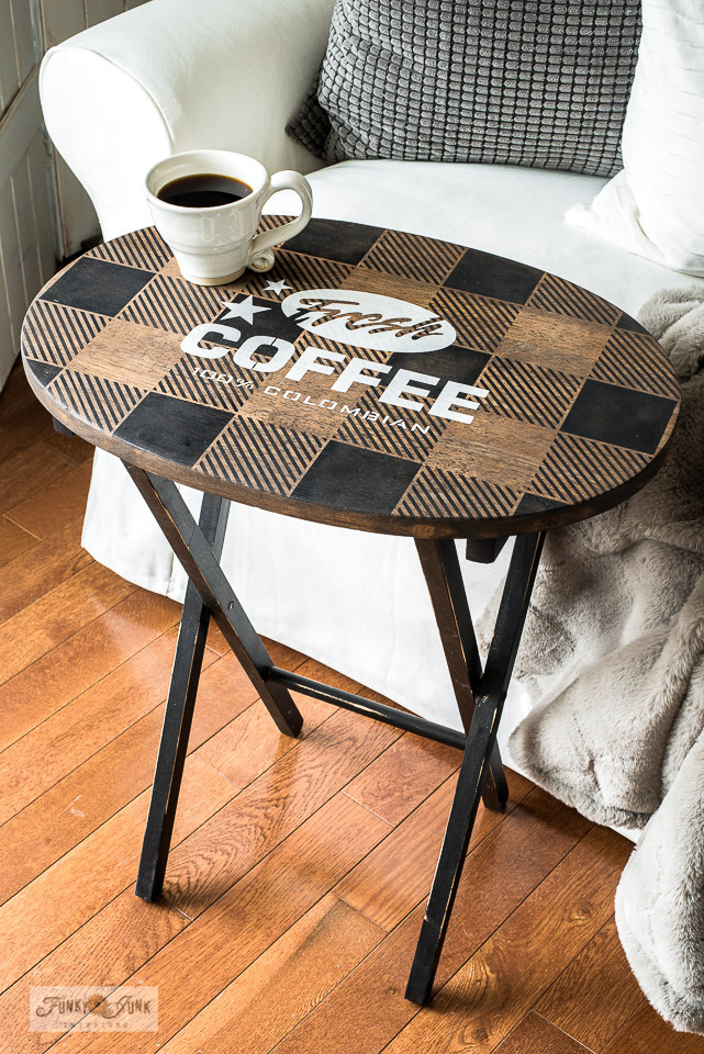 Learn how a wooden TV tray was stenciled and stained to create this beautiful Fresh Coffee theme with Funky Junk's Old Sign Stencils. Part of Funky Junk's favorite posts and junk projects of 2019.
