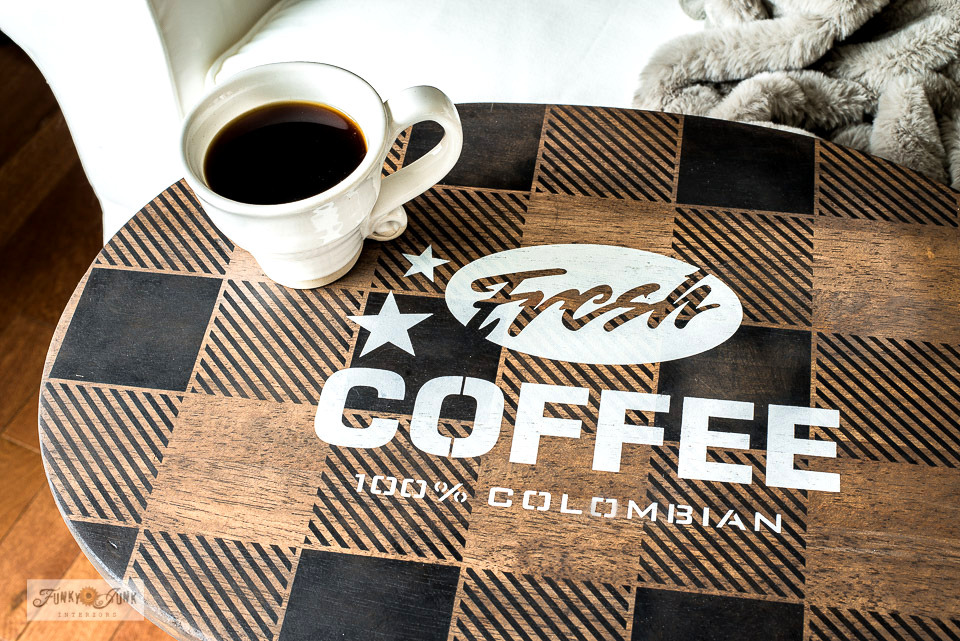Learn how to DIY this buffalo check Fresh Coffee TV tray!