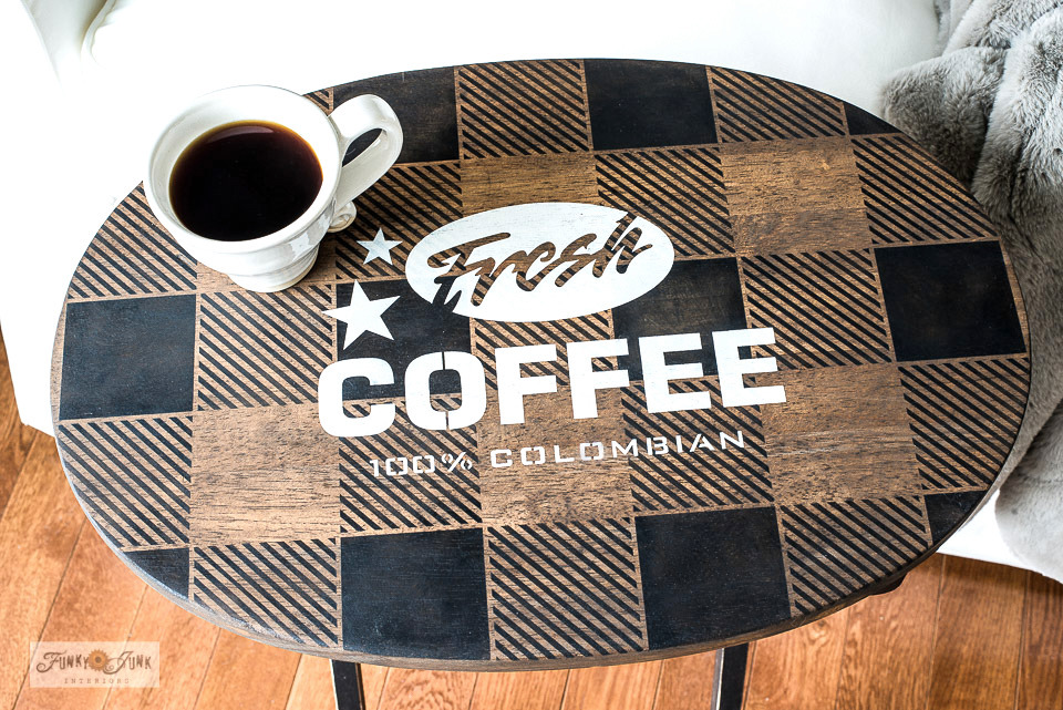 Learn how to stencil this Buffalo Check Coffee themed TV tray!