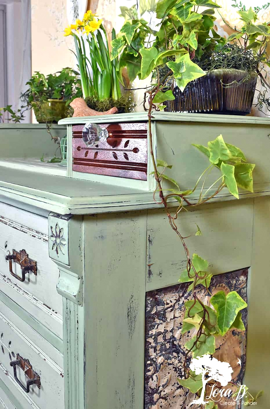 Vintage green spring dresser makeover by Lora B, featured on Funky Junk Interiors