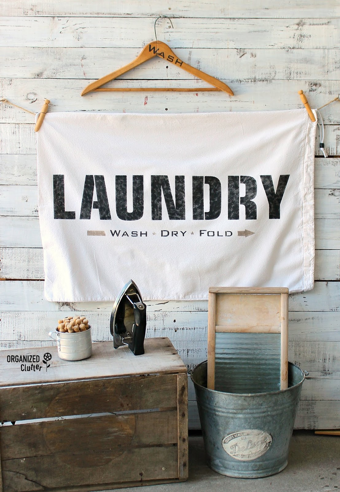Thrift store Laundry bag sign by Organized Clutter, featured on Funky Junk Interiors