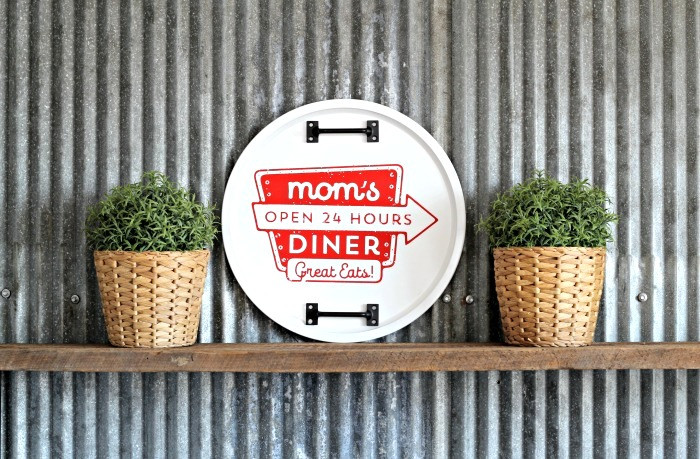 Pizza pan Diner sign by Knick of Time, featured on Funky Junk Interiors
