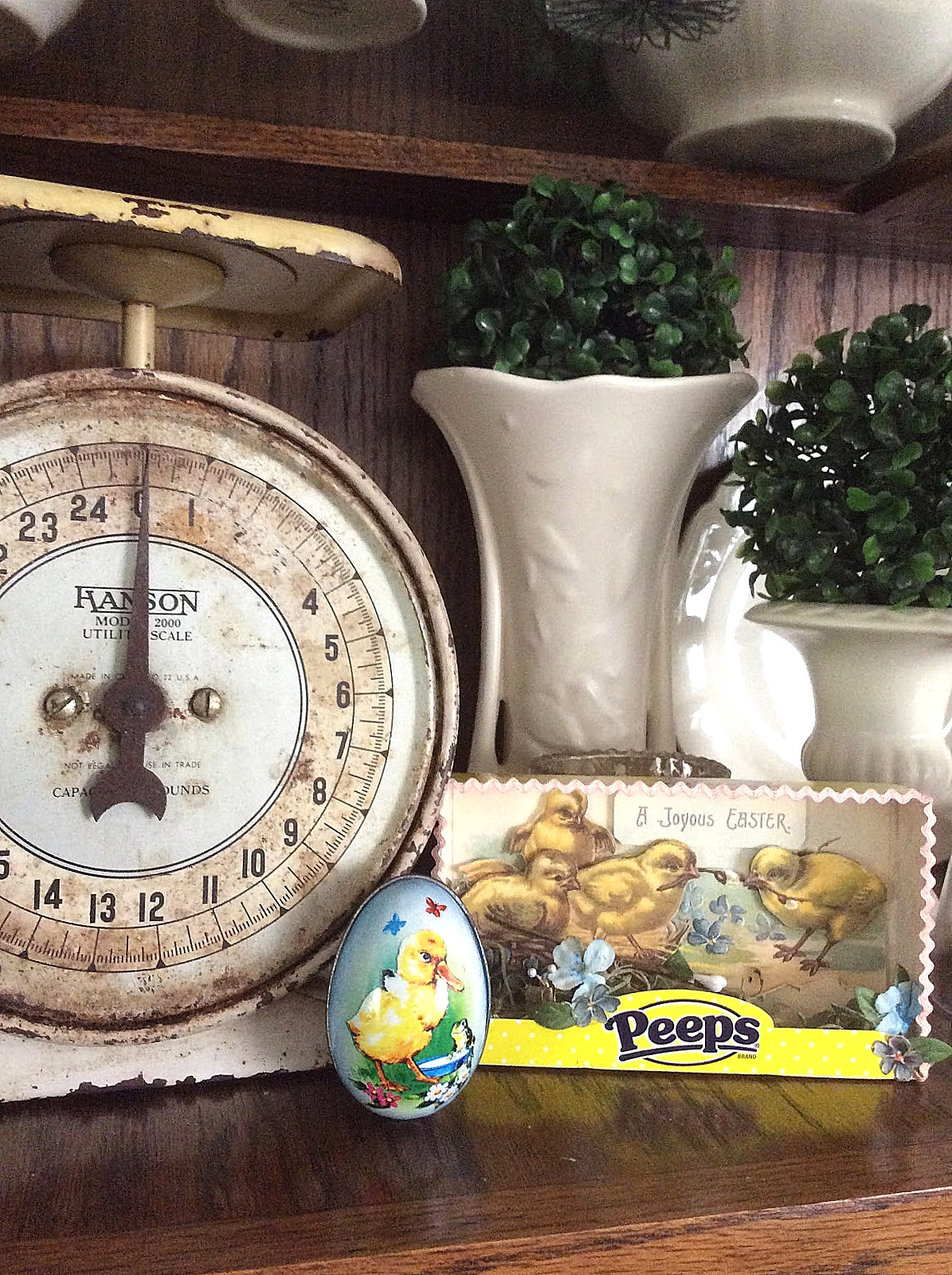 Easter Peeps spring chicks shadowbox art by Fresh Vintage by Lisa S, featured on Funky Junk Interiors