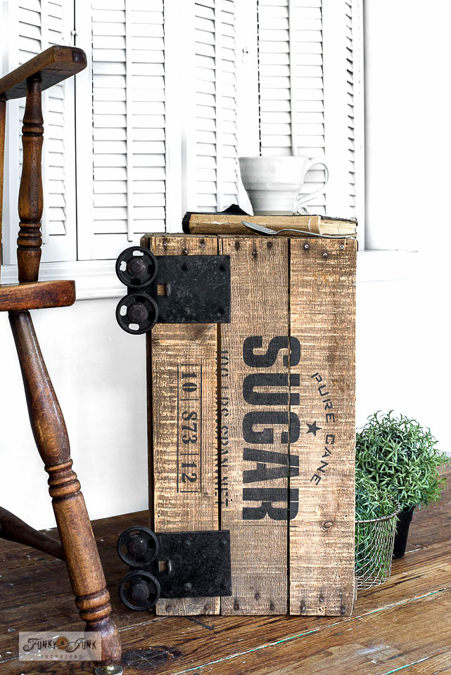 Learn how to stencil this Pure Sugar-themed vintage crate into an industrial side table with Funky Junk's Old Sign Stencils and Fusion Mineral Paint!