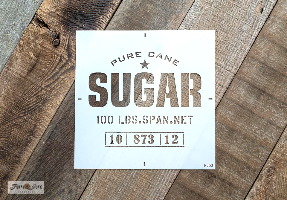 Sugar is a grain sack and crate stencil made by Funky Junk's Old Sign Stencils