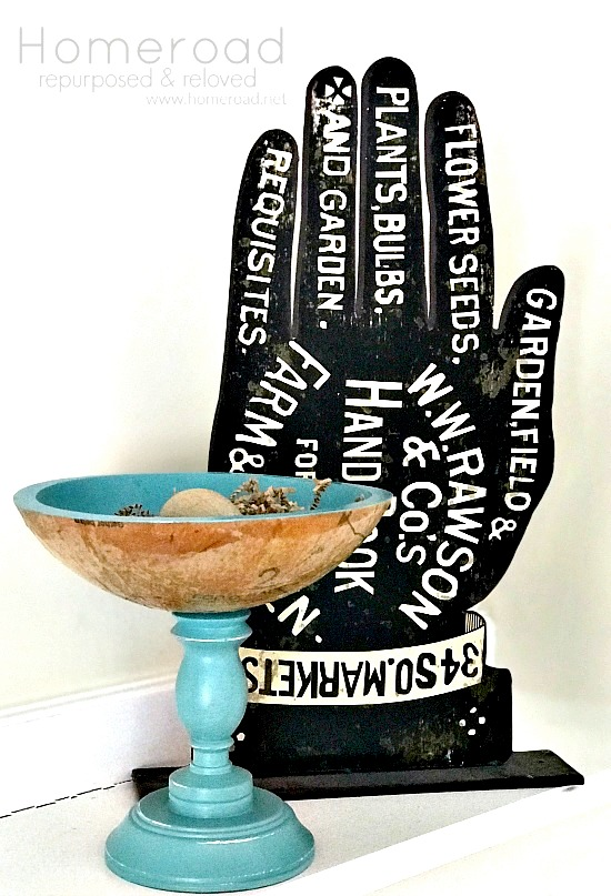 Decoupaged sewing pattern on a wooden bowl by Homeroad, featured on Funky Junk Interiors