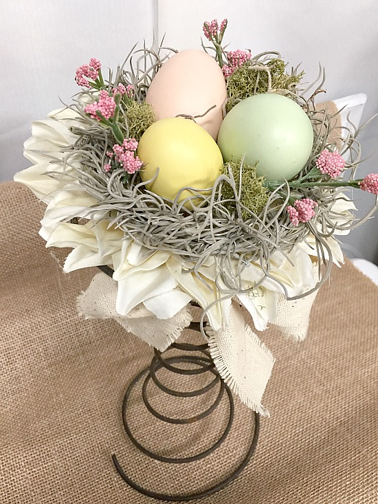 Vintage bed spring spring easter nests by Homeroad, featured on Funky Junk Interiors