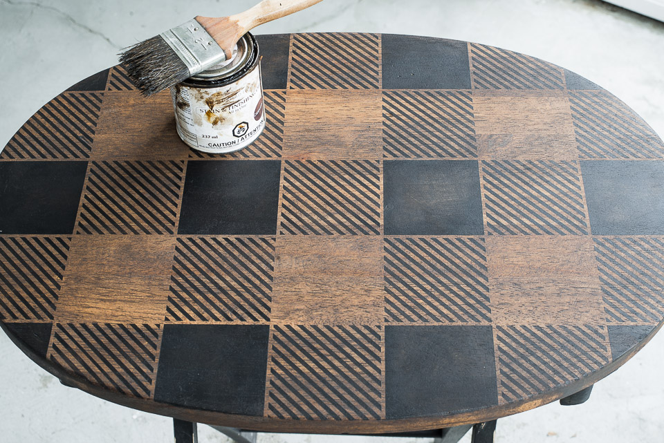 Learn how to transform a plain pine TV tray into this Buffalo Checked Fresh Coffee beauty! Showcasing Funky Junk's Old Sign Stencils and Fusion Mineral Paint. #DIY #stencils #paint