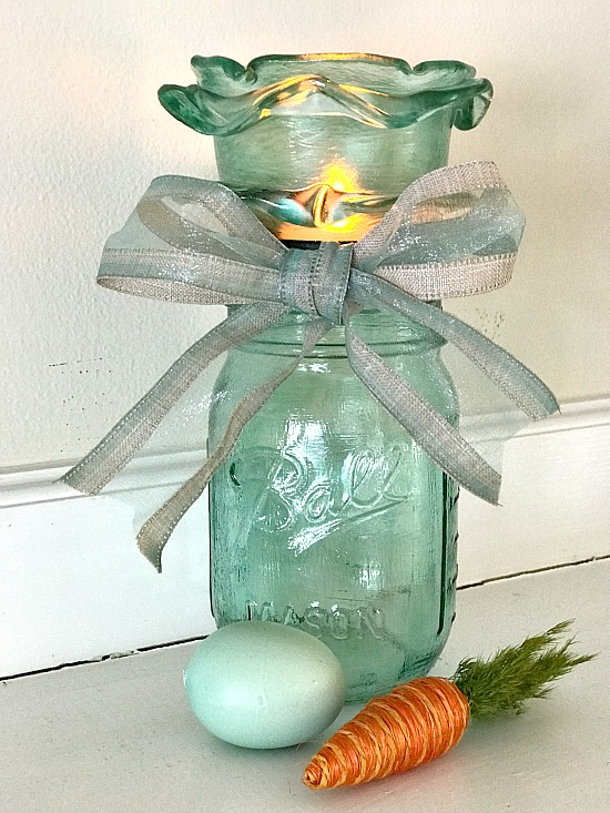 Aqua frosted candle mason jar by Homeroad, featured on Funky Junk Interiors