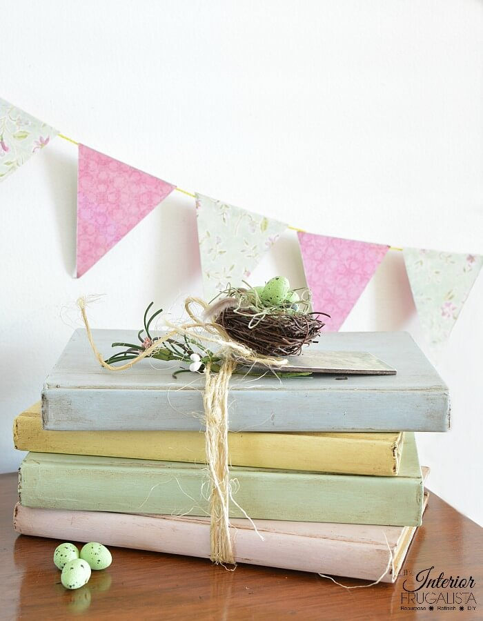 Pastel painted spring books by The Interior Frugalista, featured on Funky Junk Interiors