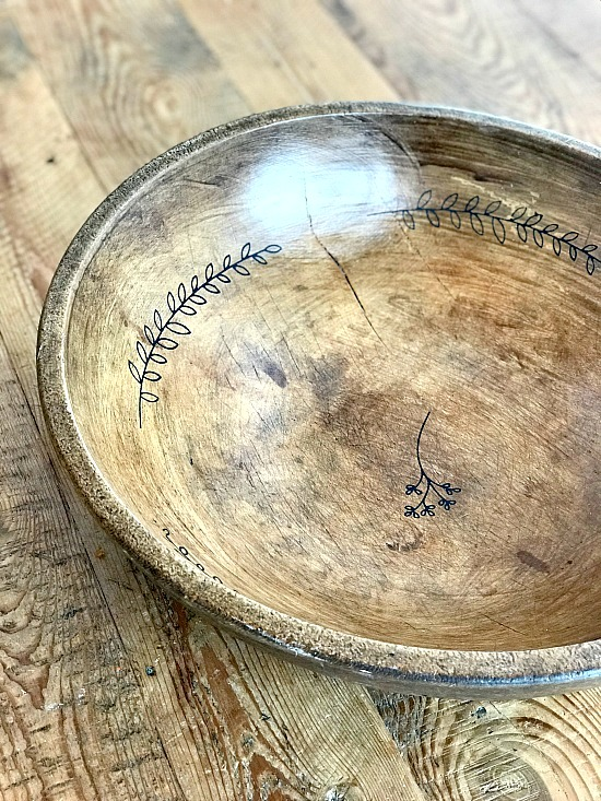 Stenciled wooden bowl by Homeroad, featured on Funky Junk Interiors