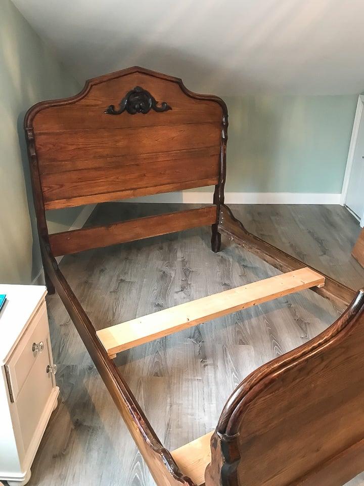 woodgrain antique headboard and footboard