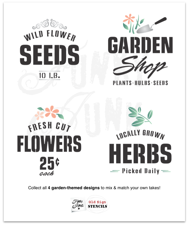 4 garden-themed stencils to mix & match | Funky Junk's Old Sign Stencils