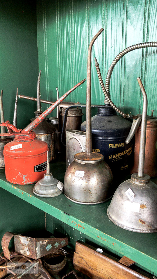 Antique oil cans at Switzer's Vintage Decor in Chilliwack, BC Canada