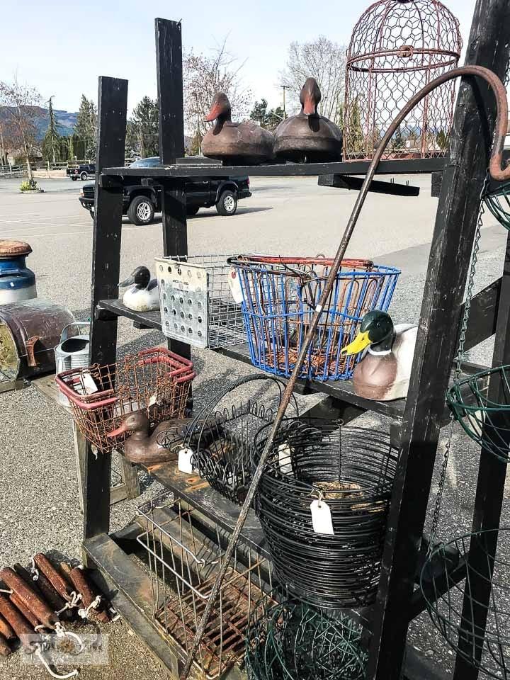 Antique wire baskets at Switzer's Vintage Decor in Chilliwack, BC Canada