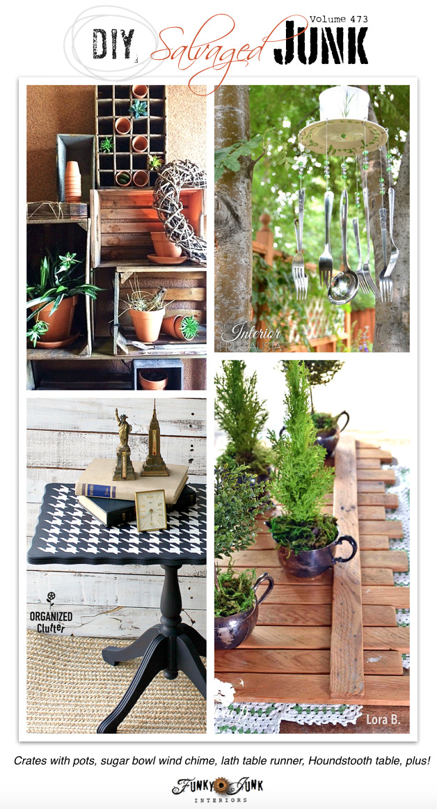 DIY Salvaged Junk Projects 473 - Crates with pots, sugar bowl wind chime, lath table runner, Houndstooth table, plus! New up-cycled projects and features link party.