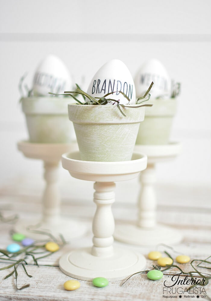 Spring / Easter clay pot place holder nests by Interior Frugalista, featured on Funky Junk Interiors