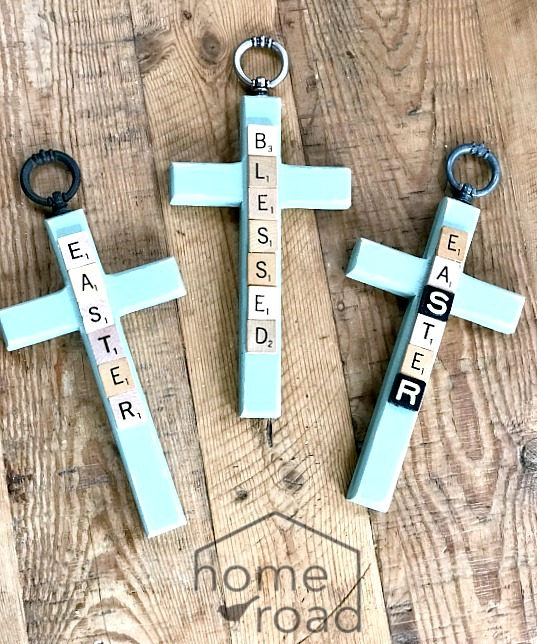 Scrabble Easter Crosses by Homeroad, featured on Funky Junk Interiors