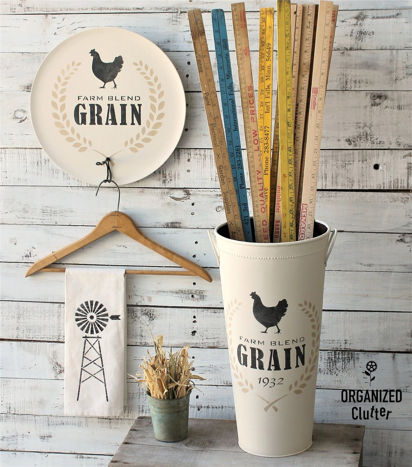Farmhouse plate hanger and vase by Organized Clutter, featured on Funky Junk Interiors