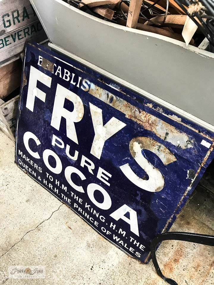 Frys Pure Cocoa vintage metal sign at Switzer's Vintage Decor in Chilliwack, BC Canada