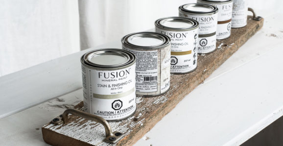 Fusion stain and finishing oil tray plank