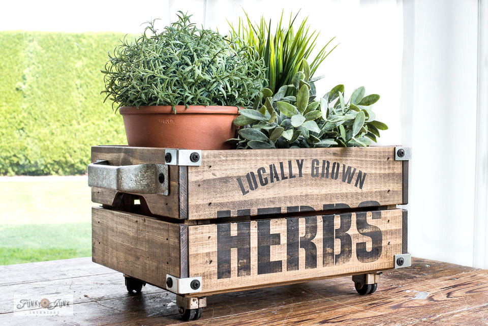 Learn how to stain and stencil Ikea crates into the cutest Herb crates ever!