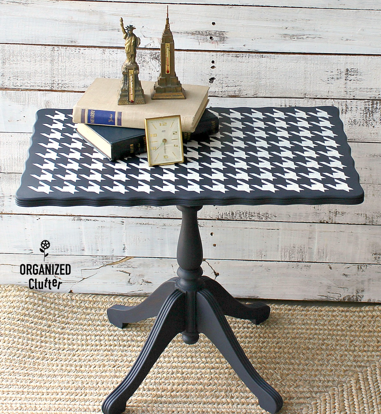 Stenciled Houndstooth vintage table by Organized Clutter, featured on Funky Junk Interiors