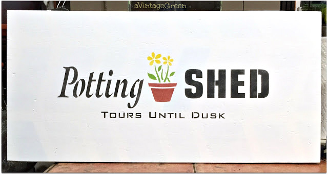 Potting Shed Tours Until Dusk stencilled sign by A Vintage Green, featured on Funky Junk Interiors