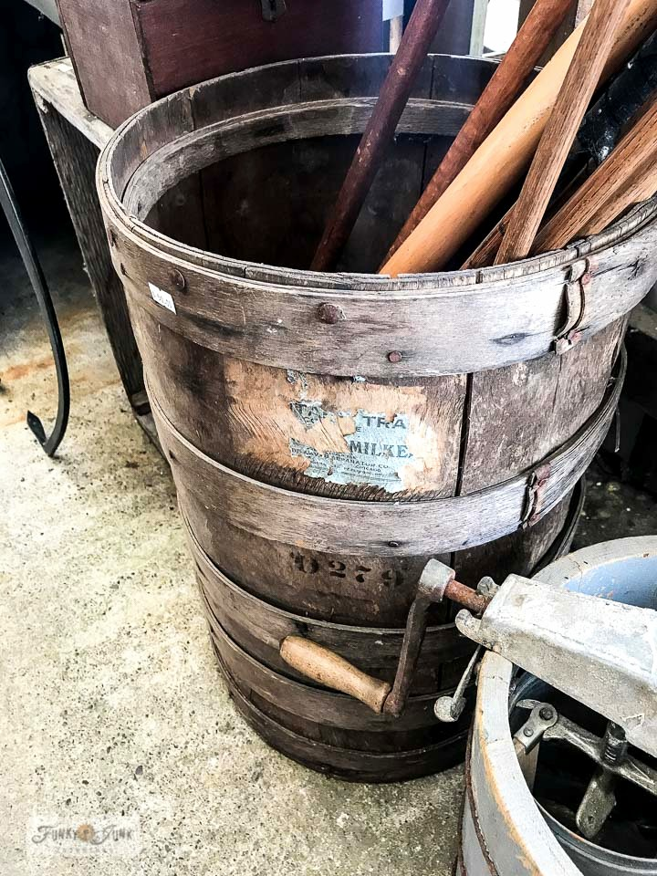Round vintage crate with stamped markings at Switzer's Vintage Decor in Chilliwack, BC Canada