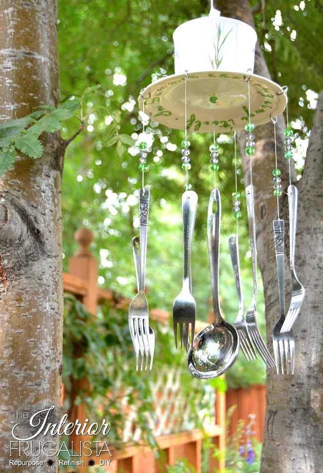 Sugar jar and utensil wind chime by The Interior Frugalista, featured on Funky Junk Interiors