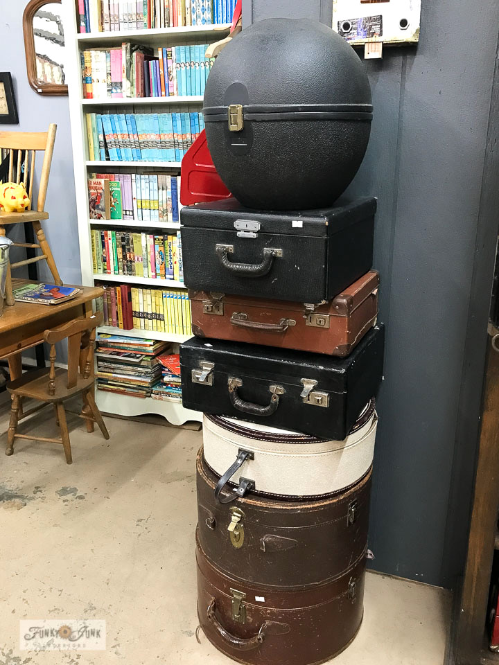 Stacked vintage luggage at Switzer's Vintage Decor in Chilliwack, BC Canada