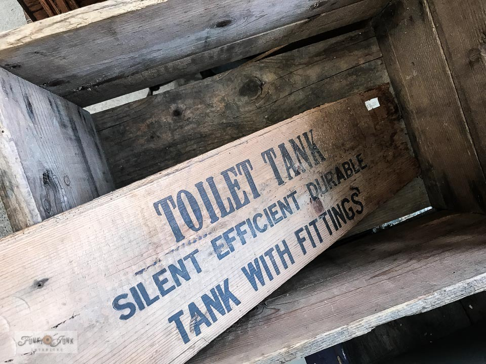 Toilet Tank vintage crate advertising sign at Switzer's Vintage Decor in Chilliwack, BC Canada
