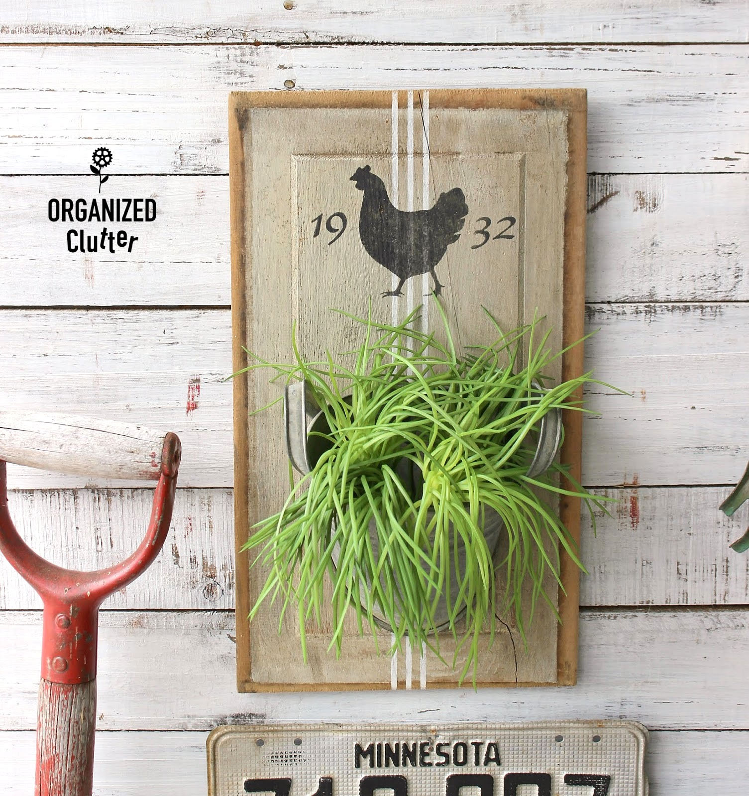 Farmhouse cabinet door wall planter by Organized Clutter, featured on Funky Junk Interiors