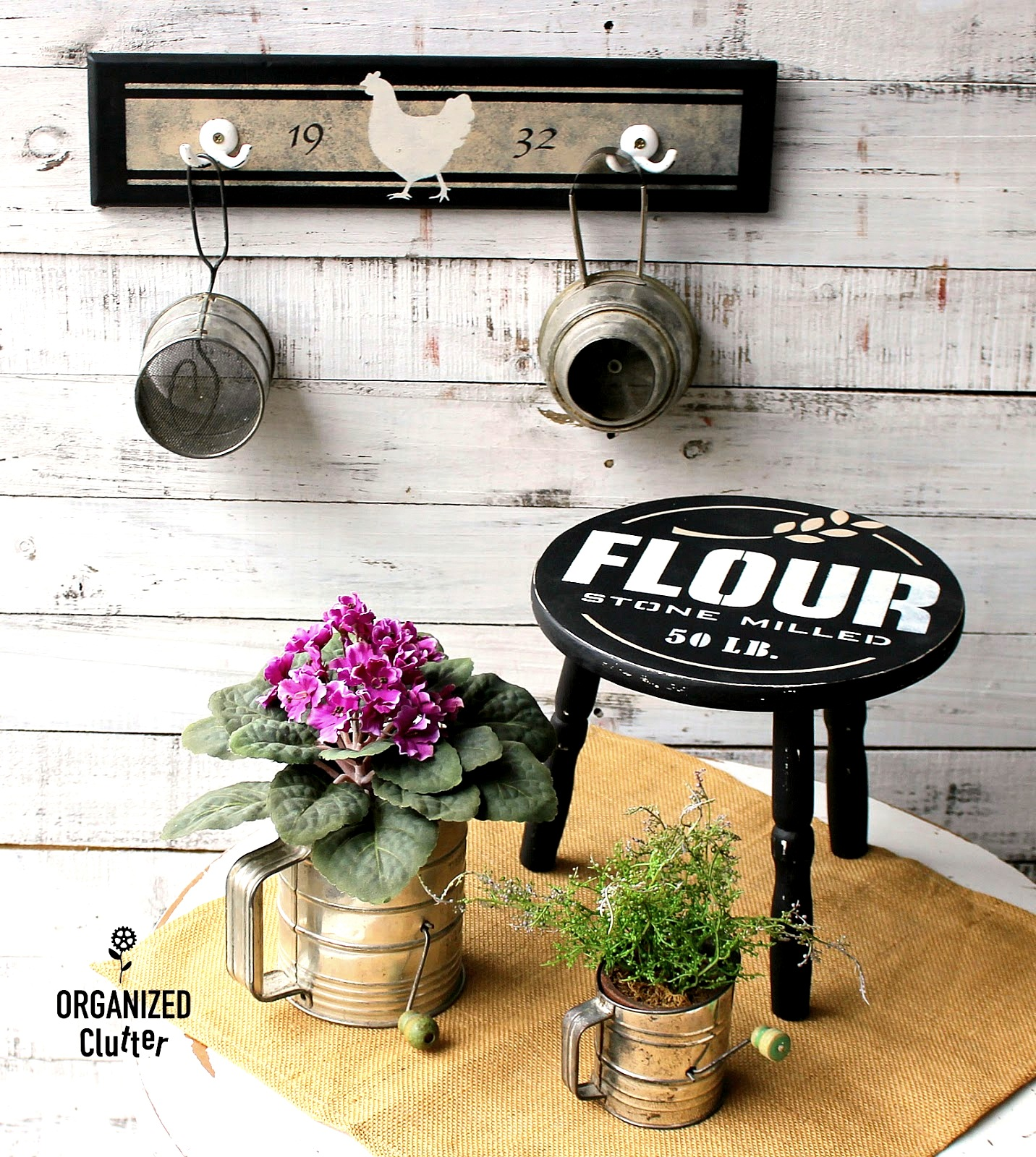 Farmhouse hooks and grain sack Flour stool by Organized Clutter, featured on Funky Junk Interiors