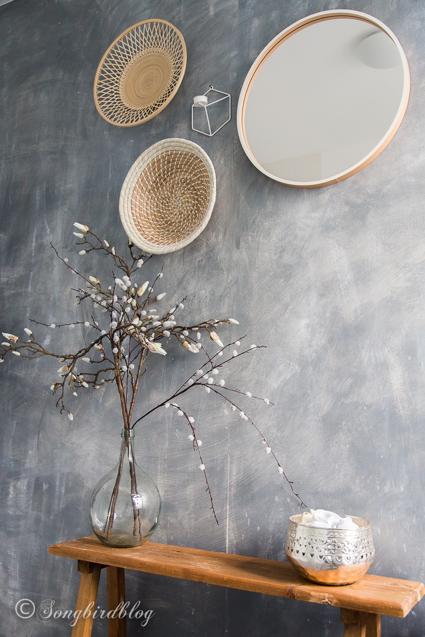 How to paint a faux concrete wall by Songbird, featured on Funky Junk Interiors