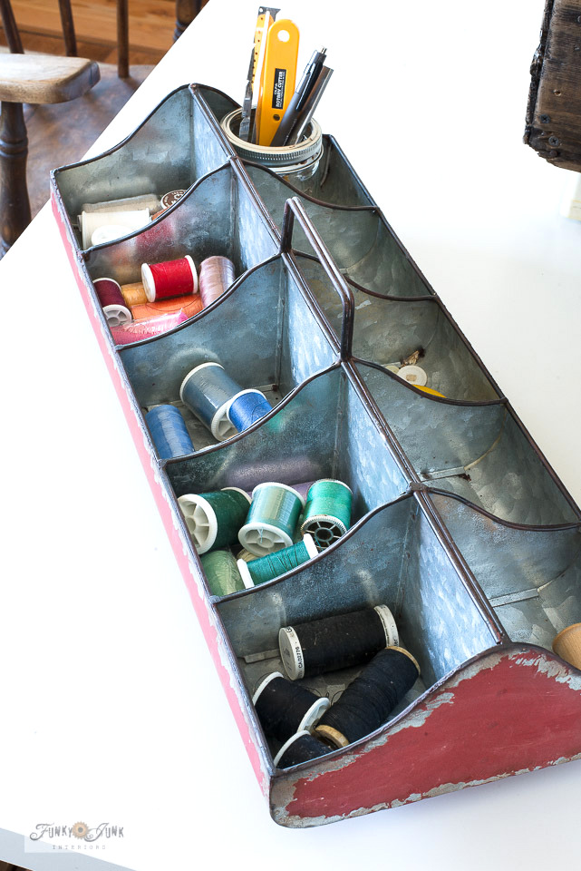 galvanized sewing organizer from Hobby Lobby