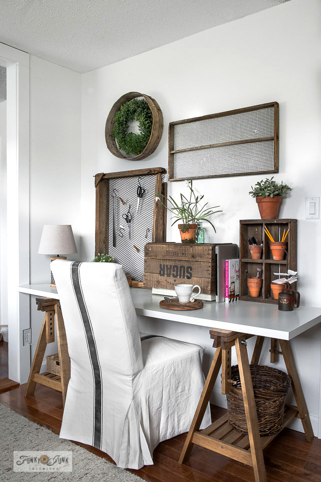 How to assemble and grain sack stripe an Ikea white slipcovered Hendriksdal chair with Funky Junk's Old Sign Stencils and Fusion's Ash for the perfect little trestle sewing table or desk. Click for the easy tutorial.
