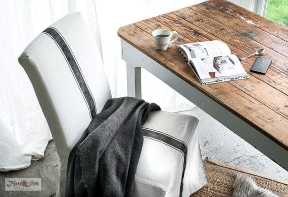 grain sack stripe stencil on Ikea slip covered chair