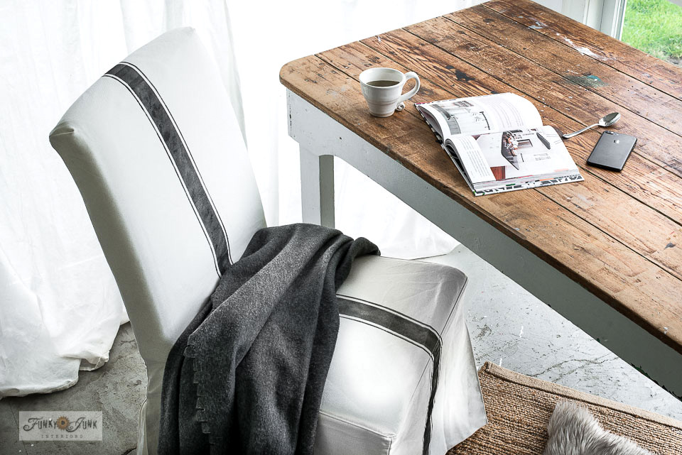 How to add a grain sack stripe on an Ikea slip covered chair