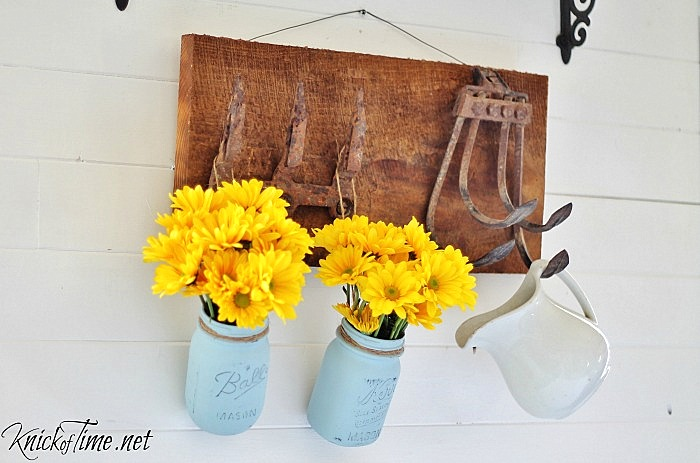 Repurposed farm tools wall hooks by Knick of Time, featured on Funky Junk Interiors