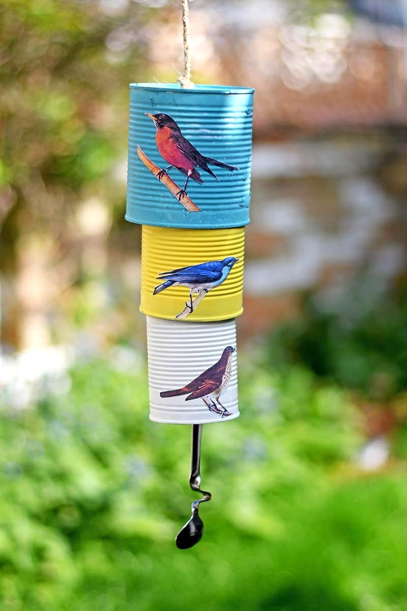 Songibrd tin can wind chime by Picture Box Blue, featured on Funky Junk Interiors