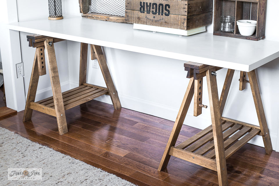 Make this rustic farmhouse-styled Ikea trestle sewing table that doubles as a desk!
