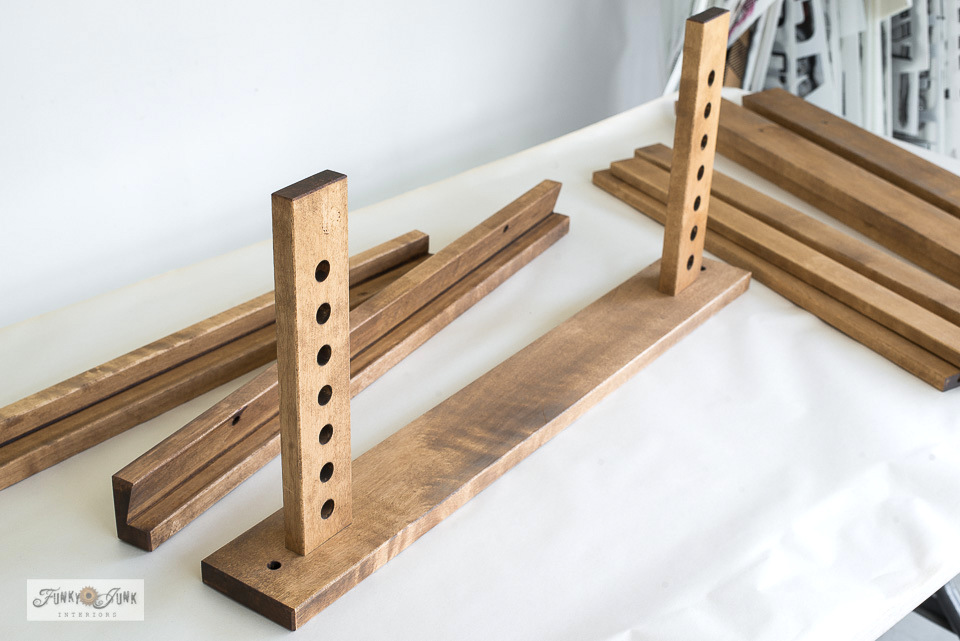 Staining and assembling Ikea trestle desk legs to make a sewing room desk.